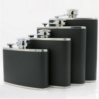 Black Cheap Hot Sale Promotional Custom Leather Hip Flask Gift Set