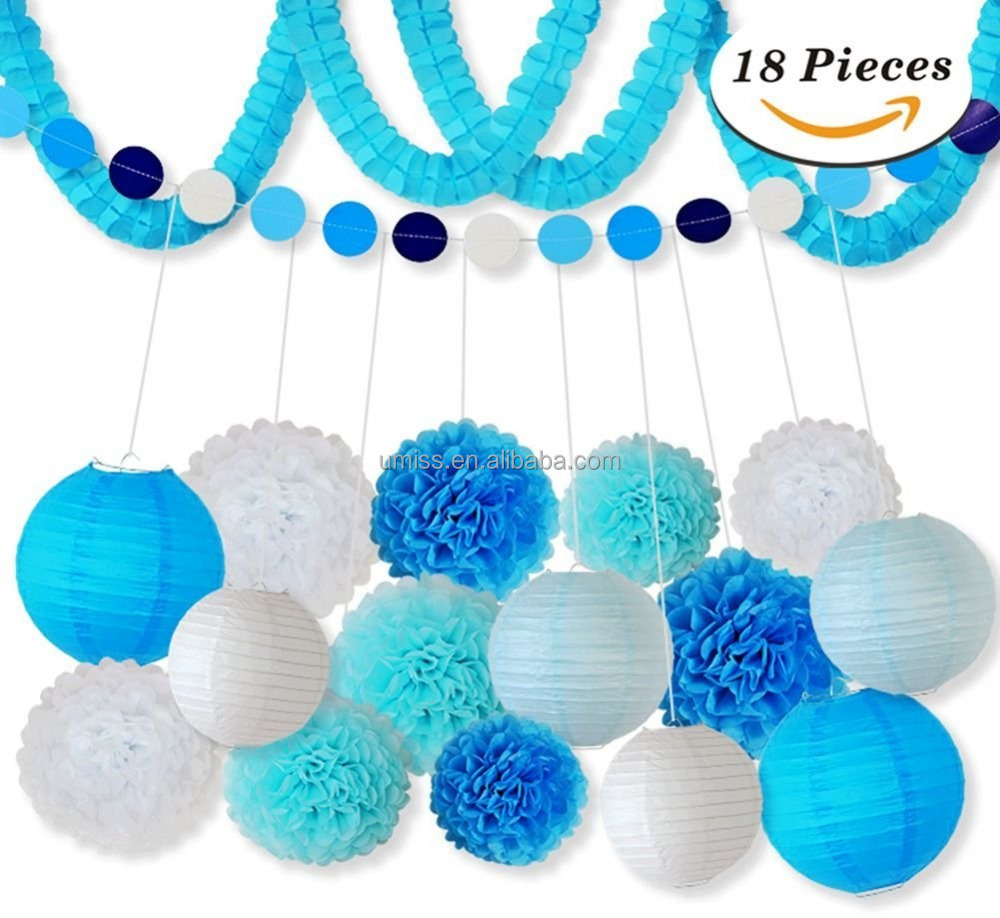 UMISS Tissue Paper Flowers Pom Poms Decorations Theme Paper Lanterns Polka Dot Four Leaf Hanging Paper Garland for Wedding