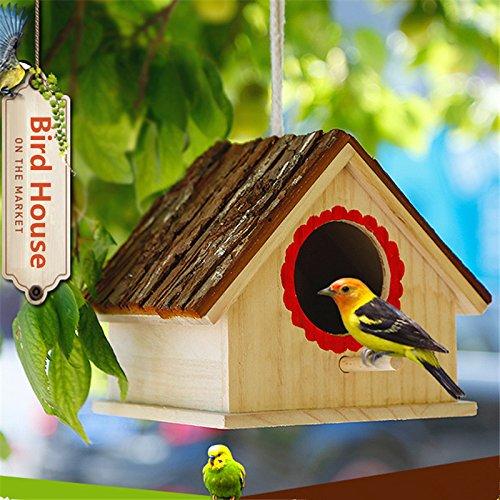 DDMARK Retro Handmade Hanging Wooden Nesting Box Parrot Bird Farmhouse Bluebird House Station Garden Decoration Birdhouse