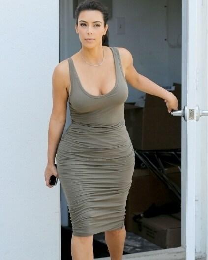 Kim k white bodycon dress