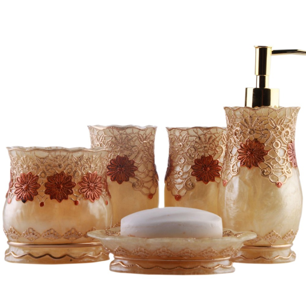 get quotations luxury royal floral lace bathroom accessories accessory sets soap dishtoothbrush holderwash cup