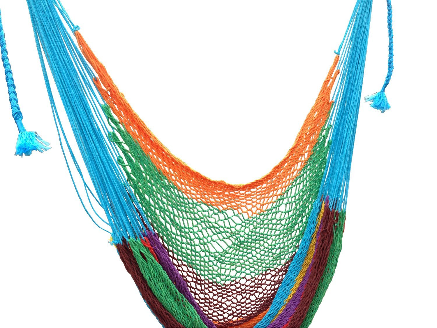 See`s Garden Cotton Rope Hammock Cradle Chair with Wood Stretcher Handmade by Mayan Artisans. Soft, Comfortable and highest Quality, Multi-Color, High Capacity (Multi-Color)