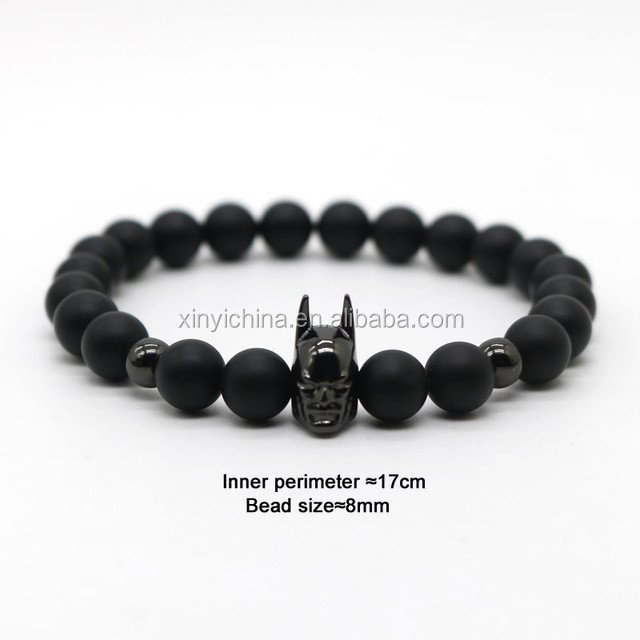 Batman Black Onyx Bead Bracelet, Men bead bracelet ,Batman bracelet