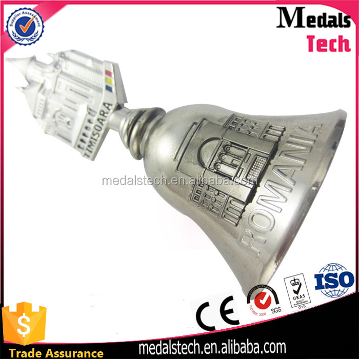 Novelty cool custom design alloy silver rotating beer opener bell for bar