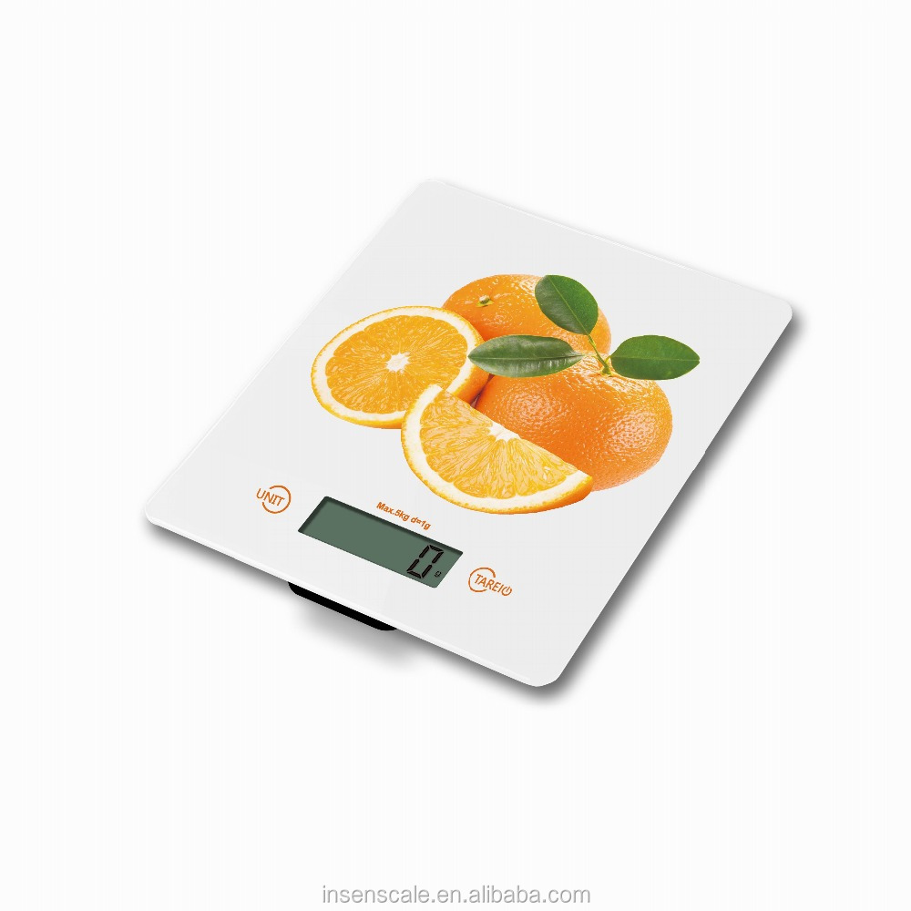 electronic digital kitchen scale for food weighting measure 5kg capital division1g with 4mm temper glass