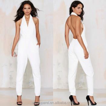 c35330aef13 2015 Sexy Ladies Jumpsuit Elegant White Formal Tuxedo Jumpsuit ...