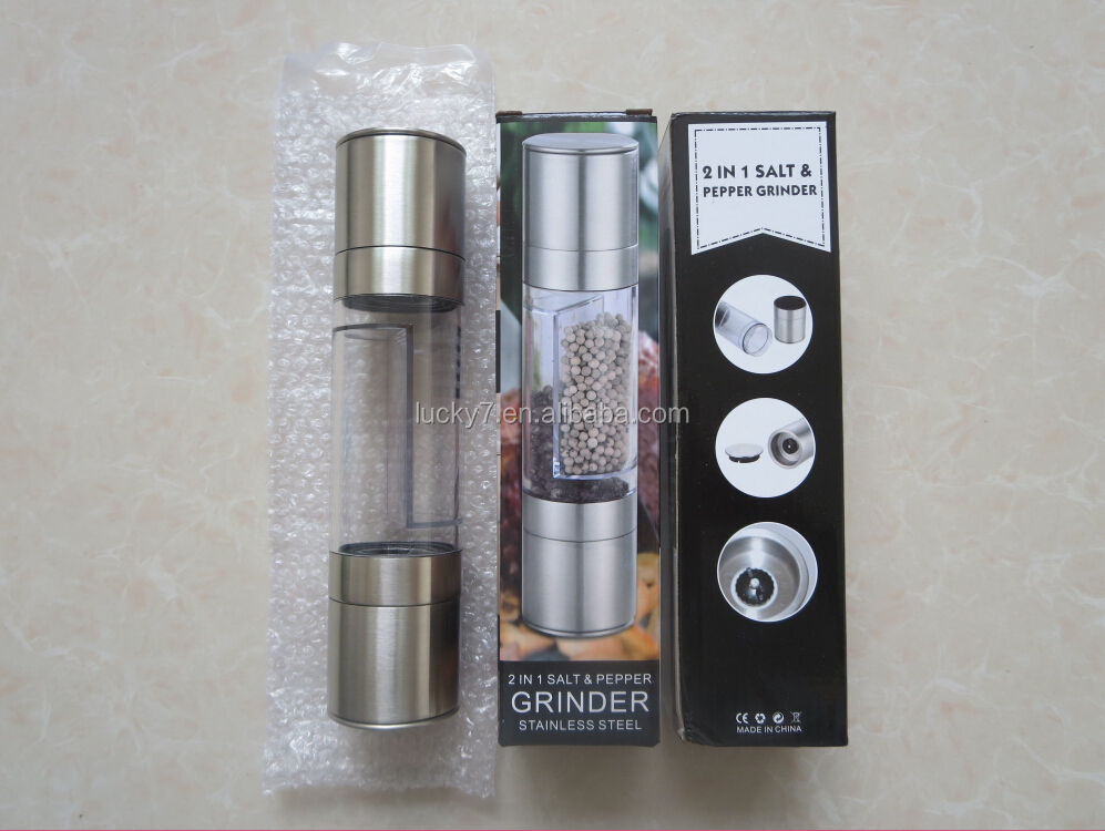 2-in-1 Salt and Pepper Grinder Set Premium Salt and Pepper Mill Stainless steel Salt and pepper grinder Set