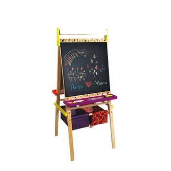 Shan tou hot sale 2 in 1 double-sided wooden kids erasable drawing board with drawing paper rolls