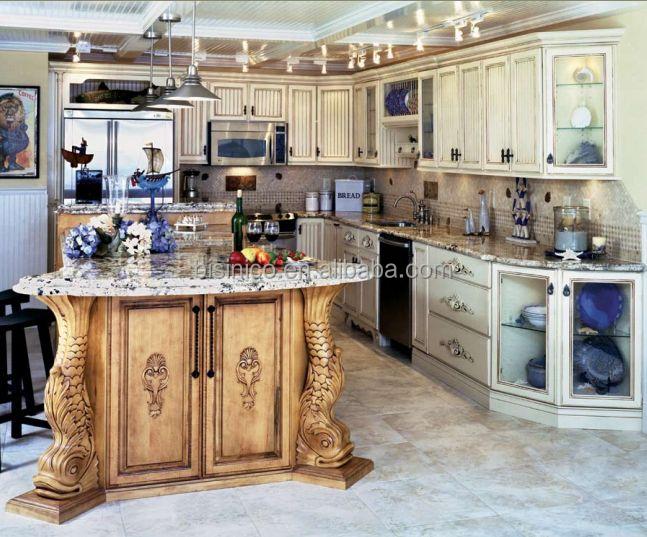 de lujo de madera maciza tallada a mano del embutido mueble de cocina