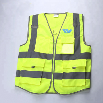 Custom High Visible Yellow Safty Vest Reflective with Pockets