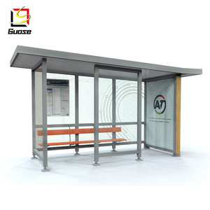 outdoor bus stop advertisement light box solar power shelter