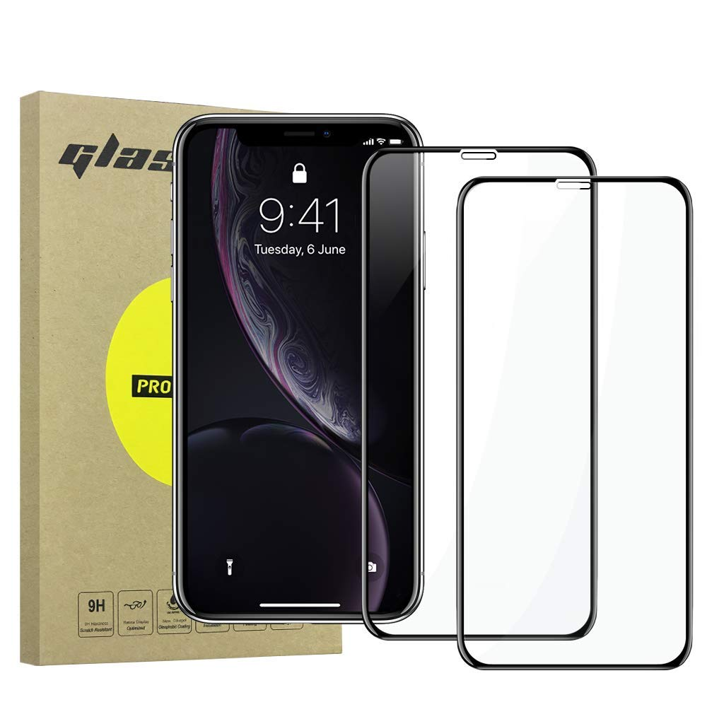 """Simpeak [2 Pack] Compatible for iPhone XR Tempered Glass Screen Protector [9H Hardness] [Bubble Free] [Anti-Fingerprint], Silk Screen Edge Protector, (6.1"""" 2018) Black"""