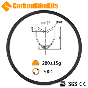 Carbonbikekits 20.5mm width 24 depth clincher tubeless 700c bike rims NR24T