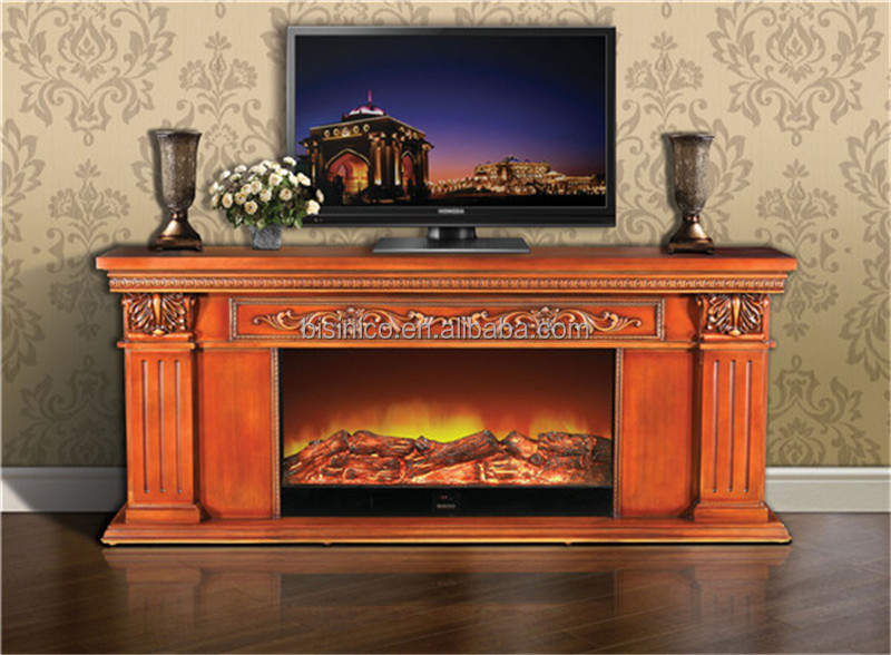 European Large Electric Fireplace Tv Stand With Decorative
