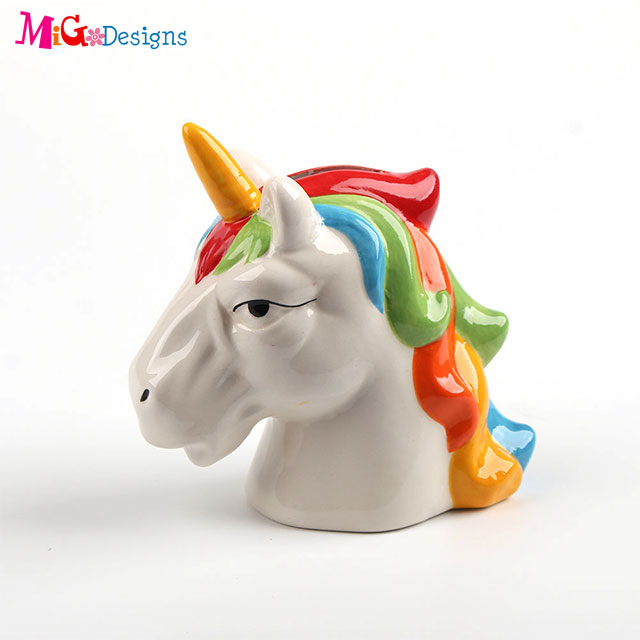 Hand Painted Artificial Decoration Ceramic Cupcake Unicorn Piggy Banks