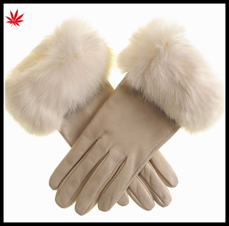 2016 lady's rabbit fur fashion sheep skin Leather Gloves