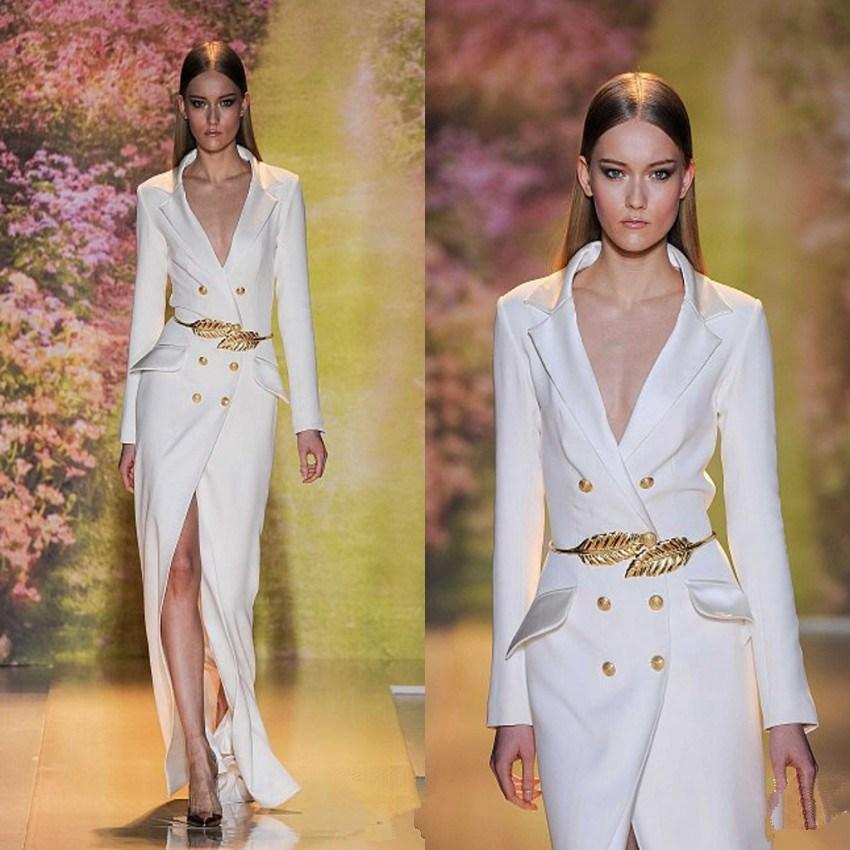 93f938e48f5 Hot Sale Zuhair Murad White Split Long Evening Dress 2016 Anxia Cheap  Sleeves Sexy V-