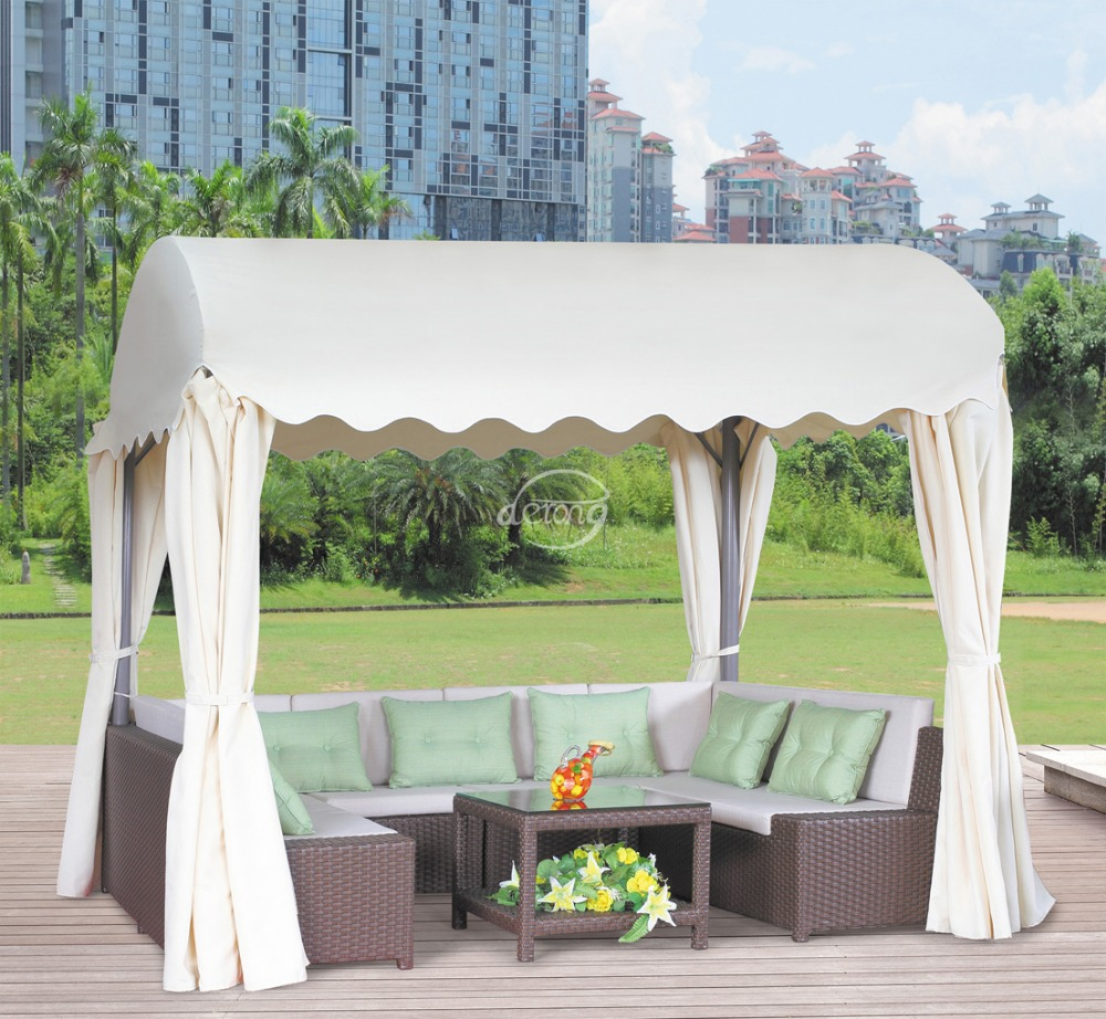 outdoor furniture garden sectional ball shape gazebo sofa set with flower parasol