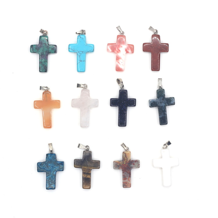 Selling Wholesale Stone Cross Natural Stone Star Pendants Jewelry Pendant Necklace Charm