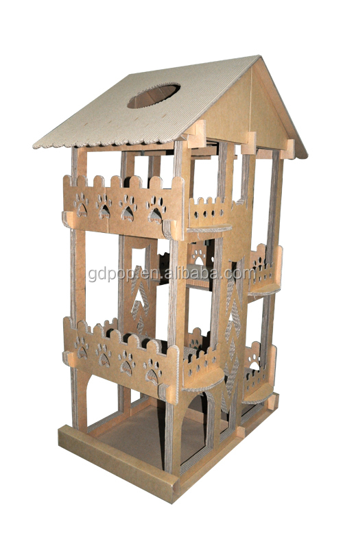 B cl288 recycle paper cat climber cardboard diy cat tree for Diy cat tower cardboard