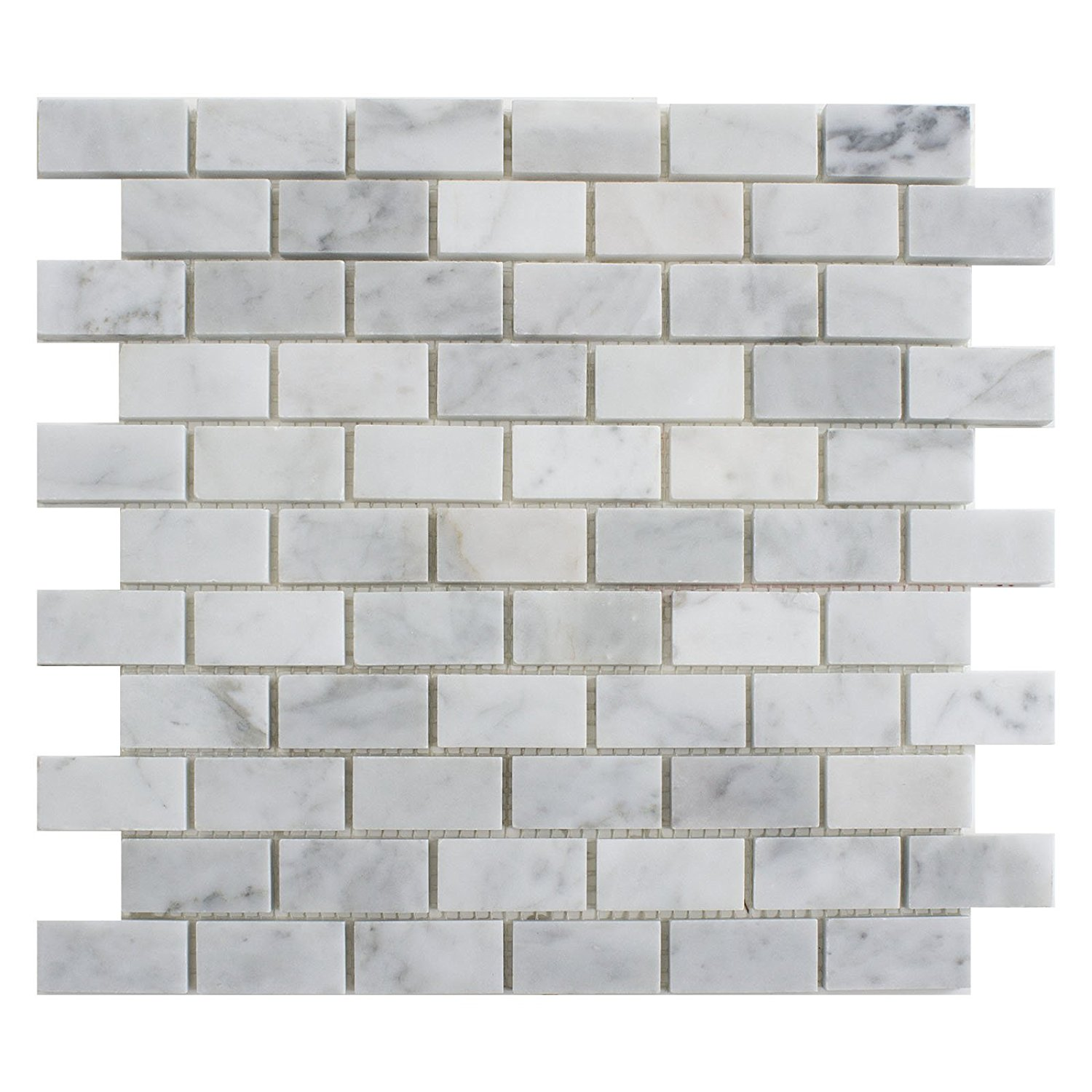 "Carrara White Marble Mosaic Tile, CWMM0102, Chip Size 1""X2"" Brick, 12""X12""X5/16"", Polished (Lot of 50 Sheets)"