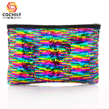 Shiny Sequin Makeup Bag Reversible Sequin Cosmetic Bag In Stock