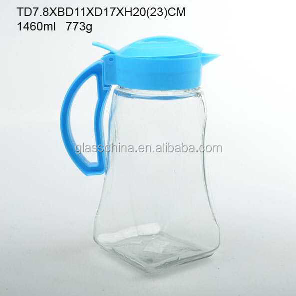 hot sale 1460ml empty clear glass water jug with Blue plastic lid and handle