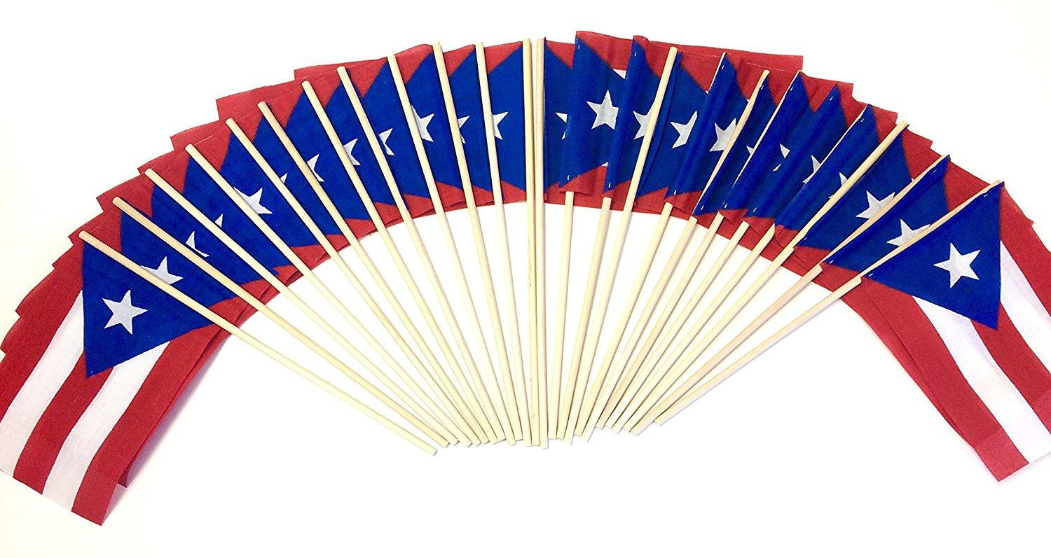 "Made in the USA!! WHOLESALE Box of 144 Cotton 4""x6"" Puerto Rico Miniature Desk & Table Flags, 12 Dozen 4""x 6"" Cotton Puerto Rican Borinquen Small Mini Stick Flag"