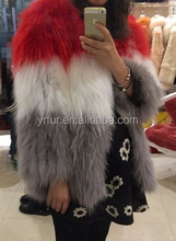 YR920 1*1knit top quality hand knittedb raccoon fur coat/can be customized colors
