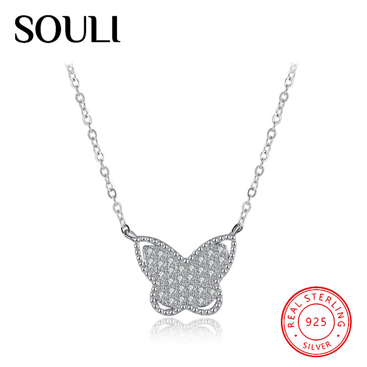 Women Gift Jewelry White Cubic Zirconia 925 Sterling Silver Larger Butterfly Pendant Necklace