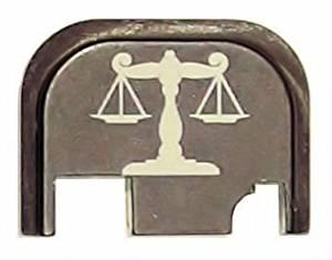 Rear Slide Cover Plate Laser Engraved for Glock Pistols Scales of Justice