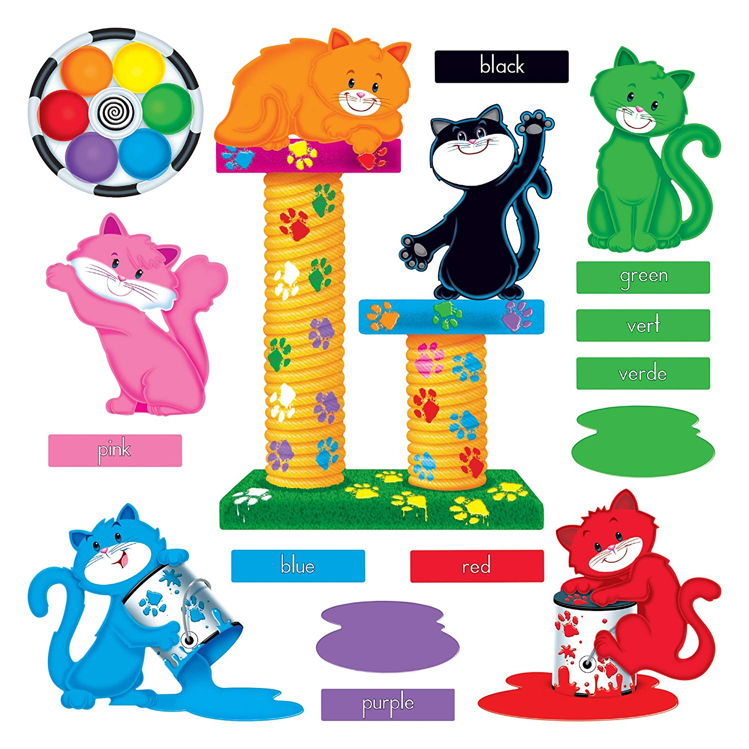 TREND enterprises, Inc. Curious Color Cats Bulletin Board Set