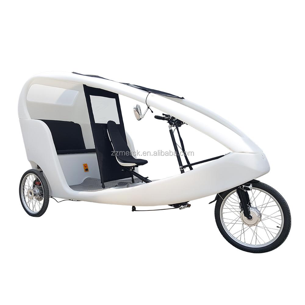 PE-Kabinenpedal-Assistent 3 Rad 2 Vermietung von Fahrgästen Velo-Taxi-Art-Fracht-Dreirad-elektrisches Taxi-Fahrrad