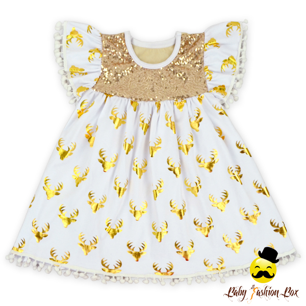 Christmas Gold Deer-head Printed White Pom Pom Flutter Sleeve Ruffle Super Soft Toddler Girls Baby Dress Modern