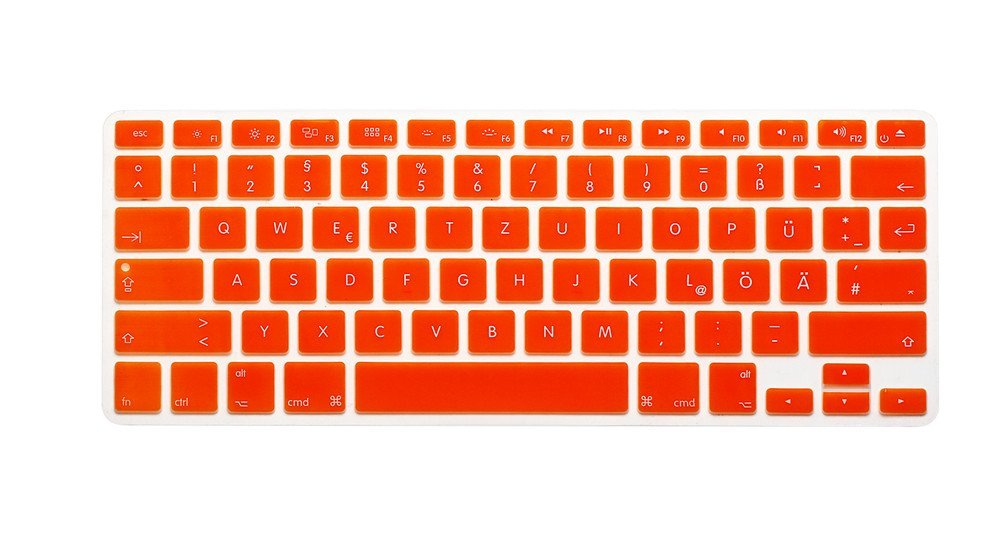 "German / English Keyboard Cover, HQF® Notebook Silicone *German Keyboard Skin Protection* Laptop Layout for All Apple Macbook Air Pro 13"" 15"" US Version(Orange)"