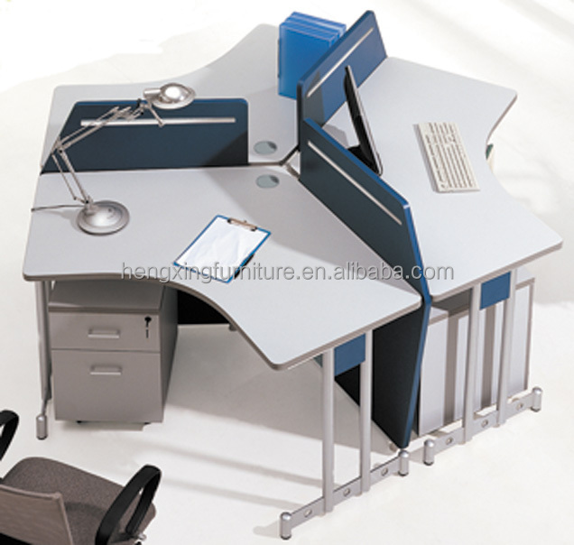 Wood L Shaped Office Staff Table T Shaped Office Desk Partition(HX W003)