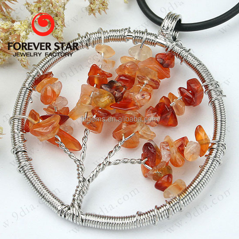 Wholesale Life of Tree Pendant Natural Gemstone Tumbled Chips Jewelry Pendant