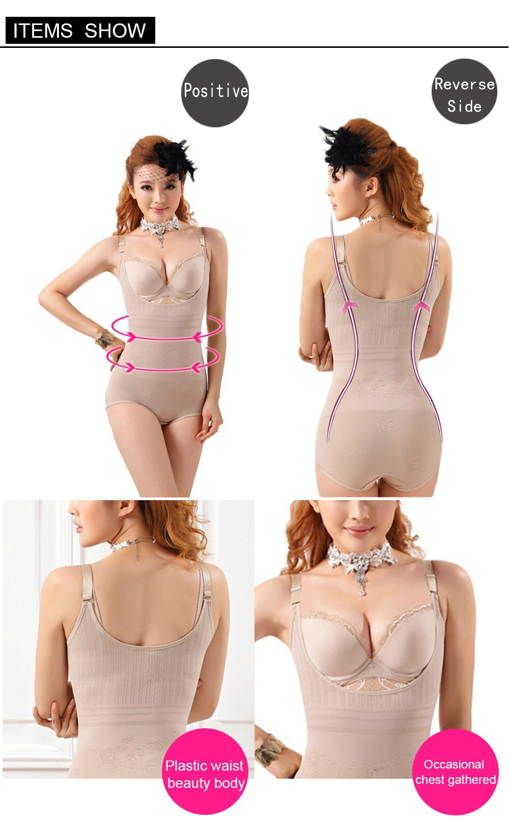 d4b2aca667d57 Women Floral Bodysuits Shapewear Underwear Plus size Body Shaper Waist  Training Corsets Buckle In The Crotch