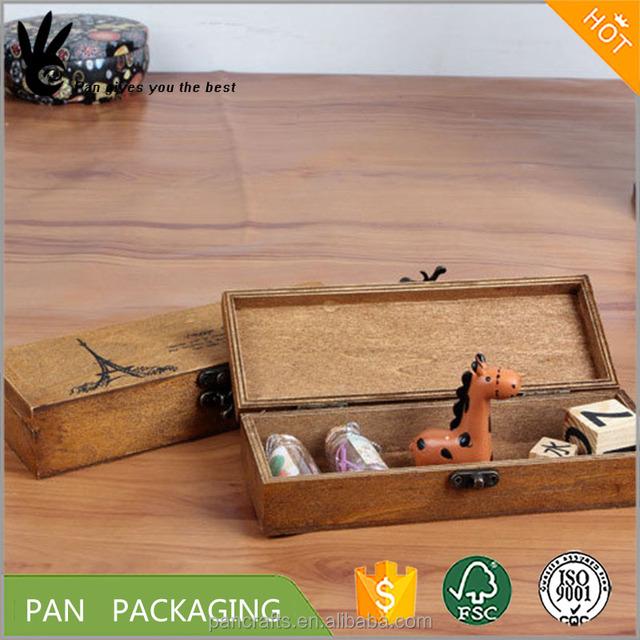 Hongdao Custom Retro Beautiful Wooden Pencil Case Storage Box Wholesale _E