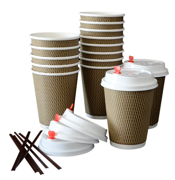 350GSM Inner Material Hot Drink paper cups Resistance Ripple Wall Coffee Cups hot sale