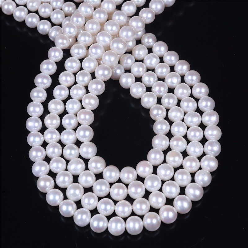 8mm round uncolored natural fresh water pearl strand