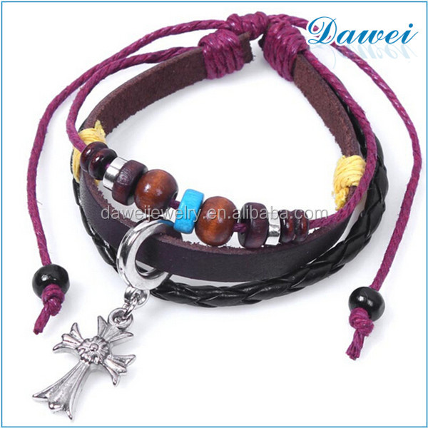 vogue magnetic braided leather bracelet for ladies