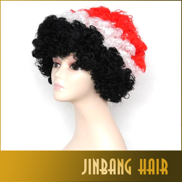 New football fans wigs Black White & Red Sports Fanatic Wig 1piece/lot for wholesales