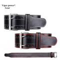 vigor power gear High qulity Genuine leather Adjustable Widen fitness Weight lifting Leather Belt Waist Support