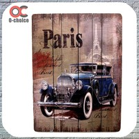 shabby antique car theme wooden wall picture hanging