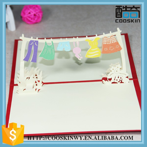 Hot sell popular handmade 3d craft birthday greeting card