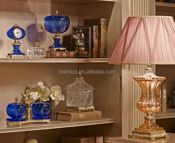 Luxury Cobalt Blue Crystal Bronze 24k Gold Plated Home Decoration Craft Royal Crown