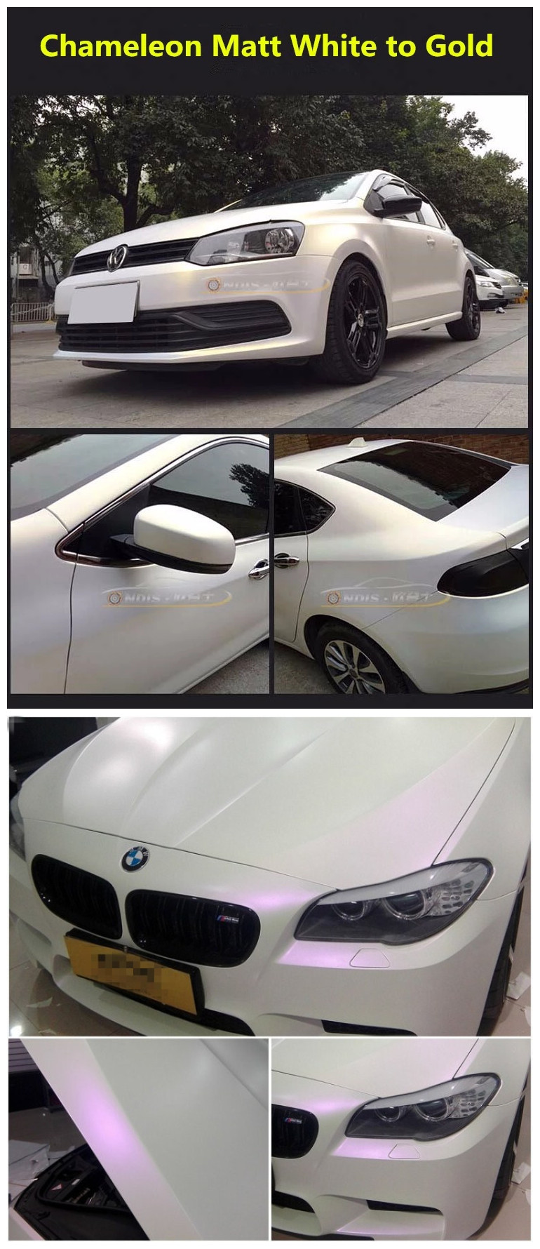 Wholesale car decoration matte and Glossy Pearl White Chameleon car body vinyl wrap