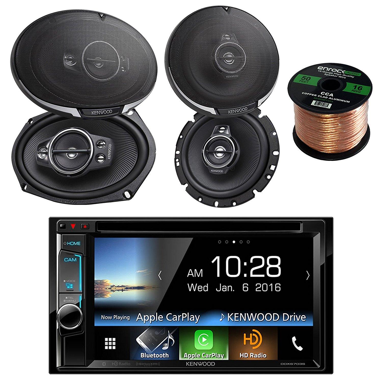 "Kenwood DDX6703S Stereo w/ 6.2"" Touch Screen + Kenwood KFC-1795PS 660W 6-3/4"" 3-Way Black Car Speaker + Kenwood KFC6995PS 6X9"" 5-Way Speaker 650W + Enrock Audio 16-Gauge 50 Foot Speaker Wire"