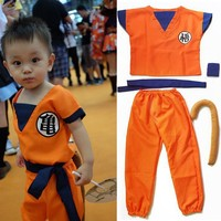 5 In 1 Child Son Goku Show Cosplay Sets Dragon Ball Figure Shirts+Pant+ Belt+Tail+Wrist Practice Kung Fu Dragon Ball Figure